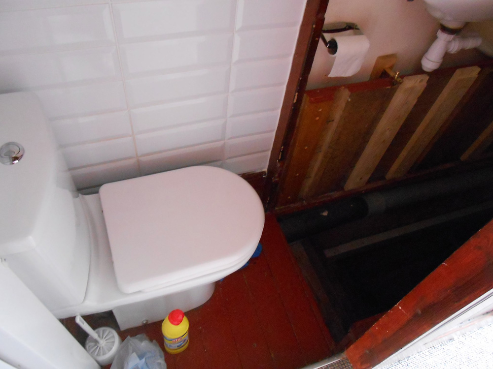 crazy toilet location in someone's home that is very scary
