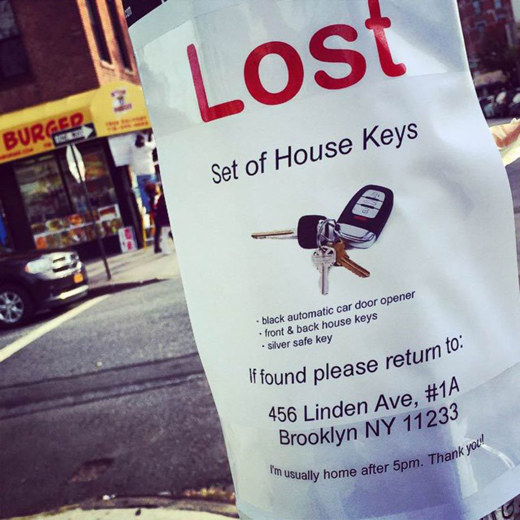 poster for lost house keys