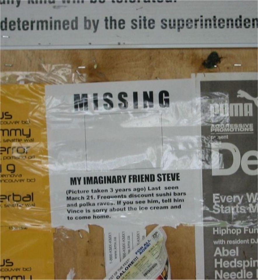 imaginary friend Steve is missing