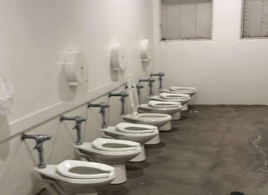 toilets in the wide open in this restroom. we hope you like it