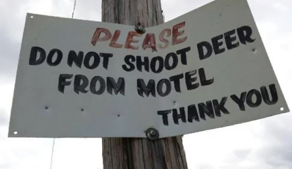 Do not shoot deer from motel sign