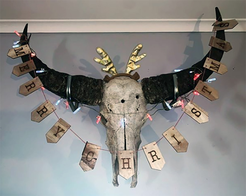 An animal skull on the wall is decorated with a Merry Christmas sign.