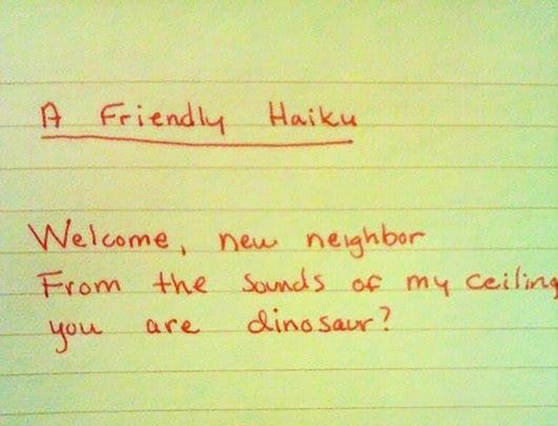 A haiku refers to a neighbor as a dinosaur based on the sounds they make.
