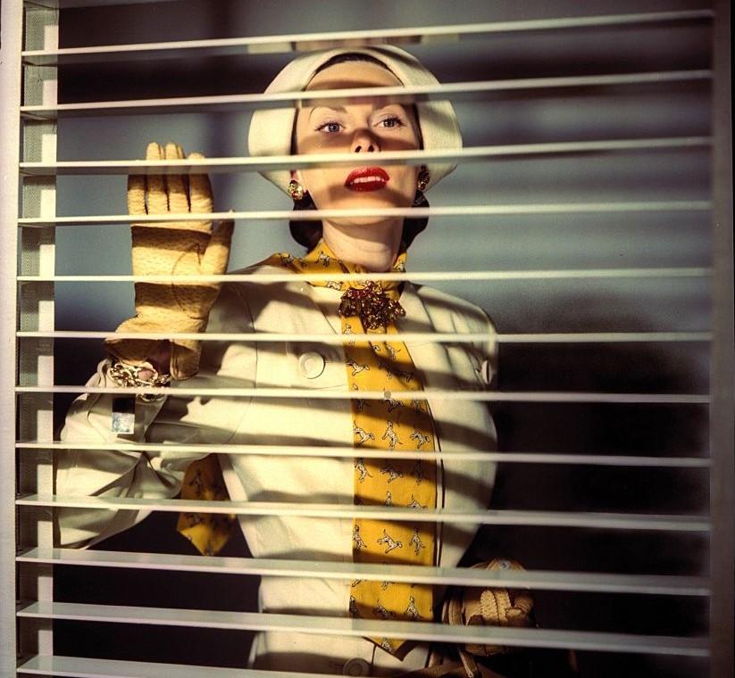 A model peeks through Venetian blinds.