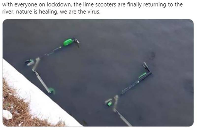 A picture shows scooters in a river, and a Twitter user jokes that