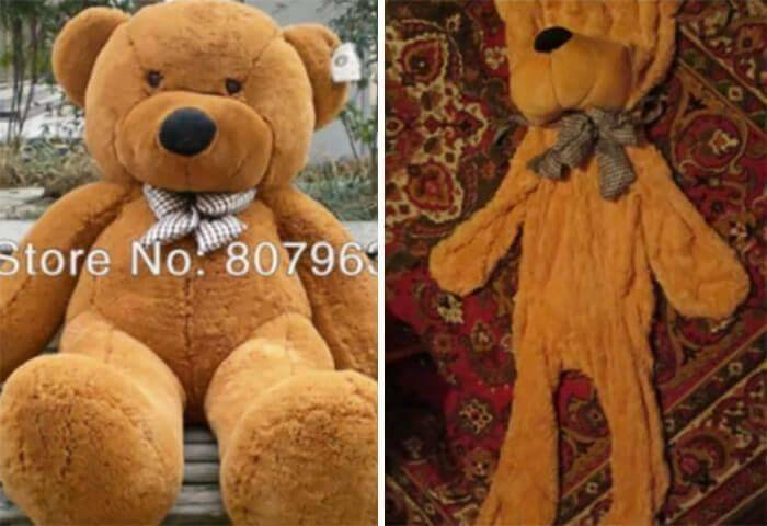 A large teddy bear displayed online is actually flat and deflated.
