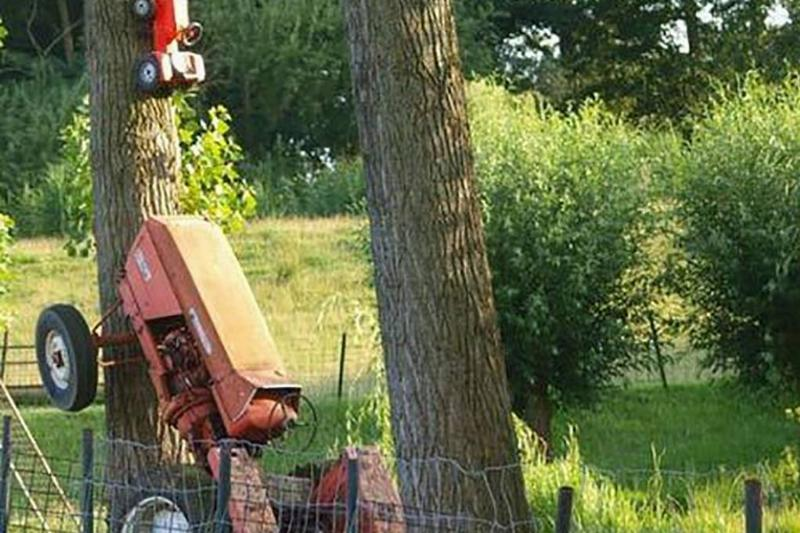 Tractor and tree