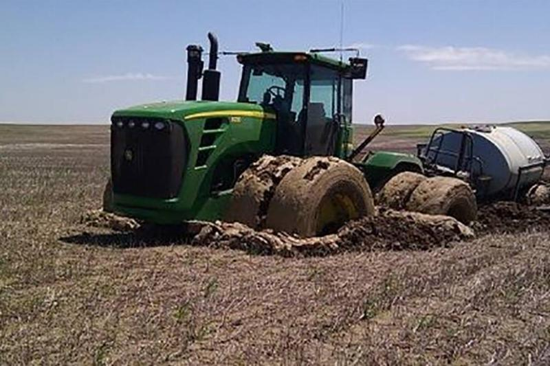 Tractor in the mud