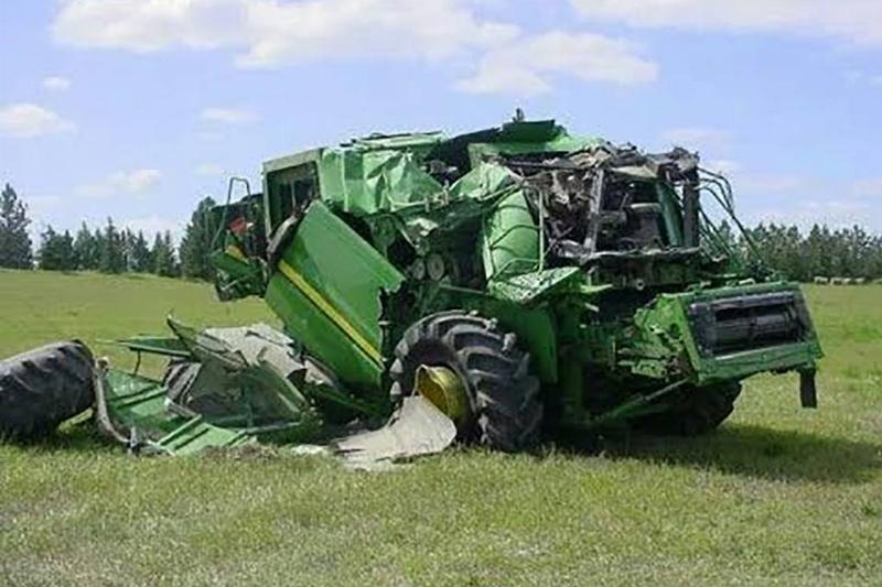 Crumpled tractor