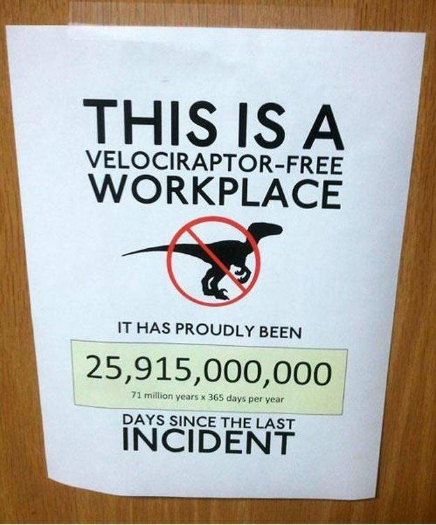 A sign claims that the workplace is