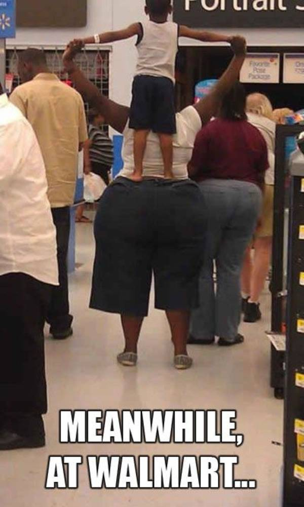 standing on the behind at walmart