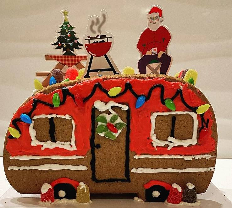 Gingerbread RV, Complete With Santa, A Grill, And A Tree