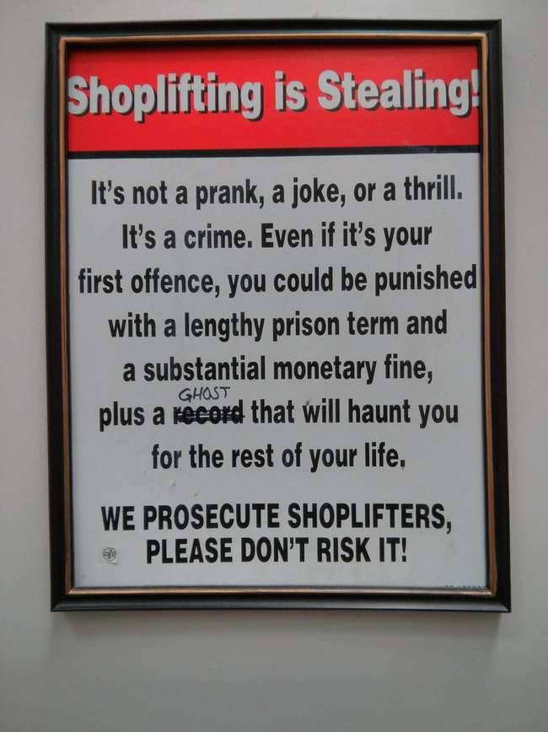 A ghost will haunt shoplifters