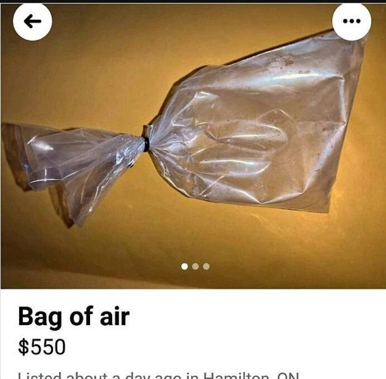 A bag of air is sold on Craigslist for $550.