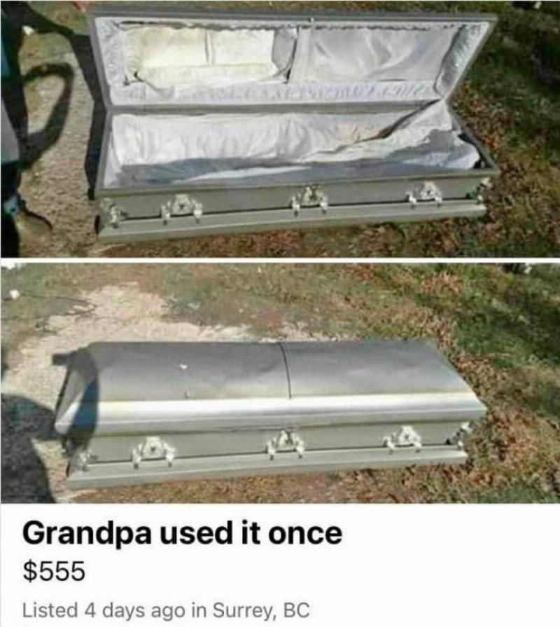 A $555 coffin for sale is listed as,