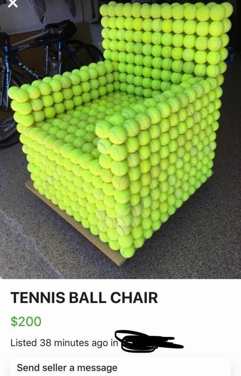 A chair made from tennis balls is on sale on Facebook marketplace for $200.